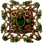 """SALE Exquisite Large 2.35"""" Austro Hungarian Green Pastes Brooch - late 1800's Antique"""