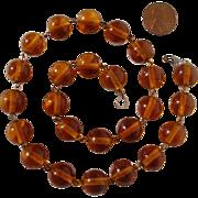 Vintage Honey Amber 10K Gold Glass Beads Necklace - Golden Pools of Light