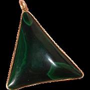 """Extra Large 2.55"""" Malachite Gemstone & 18K Gold Vintage Pendant"""