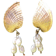 Vintage Gold over Sterling Vermeil & Cultured Pearl Drops & Dangle Pierced Earrings