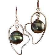 """SALE PENDING VALENTINES SPECIAL ! Lovely LONG 2.4"""" Teal Tahitian Cultured Pearl & Sterlin"""