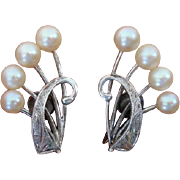 SALE Mikimoto Akoya Cultured Pearls Sterling Earriongs - Converted to Clip Ons !