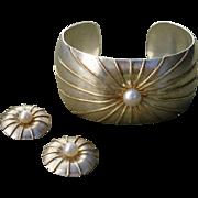 SALE Valentines Sale ! FAB Edinburgh Cultured Pearl & Sterling w/ Vermeil Vintage Cuff Bracele