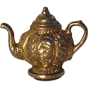 Unusual Antique 12K Gold Fob / Charm -- Adorable Teapot Design !