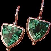 SALE PENDING Superb Art Deco Emerald Green Spinel & Sterling Silver Pierced Earrings, Signed -