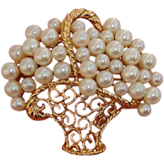 "SALE Gorgeous & Large 1.8"" Vintage Flower Basket Faux Pearl Brooch, 1960's - 70's"
