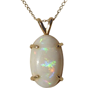 SALE Beautiful Opal Gemstone & 14K Gold Vintage Pendant