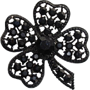 """Lucky Vintage Weiss 2.25"""" Four Leaf Clover Brooch -- Black Rhinestones, Signed"""