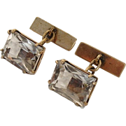 SALE Rock Quartz Crystal Cufflinks, 875 Silver Gilt - Russian Hallmark, 1960's Vintage