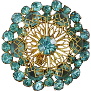 SALE GORGEOUS Late Victorian Green Blue Paste Gilded Filigree Brooch / Pendant, Antique 1880 -