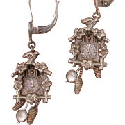 SALE Adorable German Cuckoo Clock Moving Parts Earrings - Vintage 800 Silver Dangles, Signed