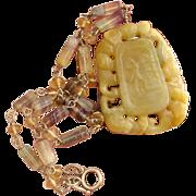 Divine Golden Yellow Jade & Rainbow Fluorite Gemstone Vintage Necklace -Linked Sterling Silver