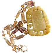 Divine Golden Yellow Jade & Rainbow Fluorite Gemstone Vintage Necklace -Linked Sterling Silver