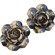 Lovely Sterling Roses Mid-Century Vintage Earrings !