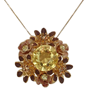 Beautiful Austrian Citrine Glass Stones Floral Brooch / Pendant - Vintage Mid-Century