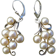 SOLD FABULOUS Japanese Akoya Cultured Pearl Grapes CONVERTED to Lever Backs Sterling Earrings,
