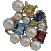 Radiant Cultured Pearls & Gemstone Sterling Ring - Size 8, Designer Signed !
