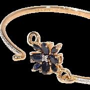 Enchanting Sapphire Flower & Gold Vermeil over Sterling Silver Bracelet - Signed
