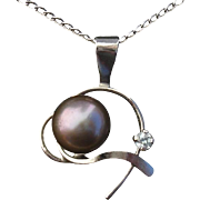 Dainty Tahitian Cultured Pearl & Diamond Vintage Sterling Necklace