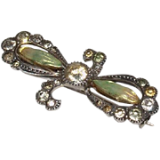 Antique Art Nouveau Iridescent Enamel Flower & Sterling Silver Brooch
