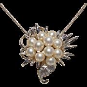 """HUGE Japanese Akoya Cultured Pearls Vintage 2.15"""" Sterling Brooch / Pendant"""