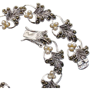 Beautiful Leaves & Blossoms Marcasite & Sterling Silver Vintage Bracelet
