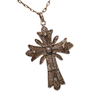 "Beautiful Sterling Silver 2.1"" Filigree Cross Pendant - Antique circa 1910"