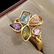Stunning Gemstone Gold Vermeil Sterling Vintage Ring - Size 8, Designer Signed !