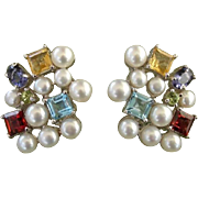Radiant Cultured Pearls & Gemstone Sterling French Clip Earrings