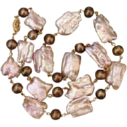 "SALE Luscious Large 22mm Lavender Pink & Bronze Cultured Pearls 20.75"" Necklace"