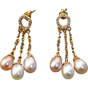 Beautiful 3 Color Cultured Pearls Vintage Gold Vermeil Dangle Earrings