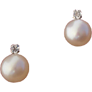 Beautiful Cultured Pearl & White Sapphire Sterling Silver Stud Earrings - Signed