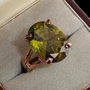SALE Gorgeous 6 Carat Tourmaline & 12K Rose Gold Vintage Cocktail Ring - Size 6.25