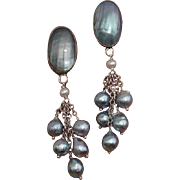 "Amazing Blue Akoya & Nautilus 2.65"" Cultured Pearls & Sterling Vintage Earrings !"