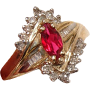 Beautiful Ruby & Diamond Vintage Cocktail Ring - 10K Yellow & White Gold