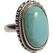 Vintage Turquoise Gemstone Sterling Silver Ring - Size 6.75