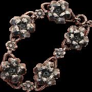 Lovely 3-D Flowers Vintage Sterling Silver Bracelet