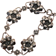 Lovely 3-D Flowers Vintage Sterling Silver Bracelet