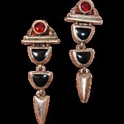 """Vintage Garnet & Onyx Gemstone 1.75"""" Dangle Earrings -- Pierced Sterling Silver"""
