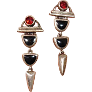 "Vintage Garnet & Onyx Gemstone 1.75"" Dangle Earrings -- Pierced Sterling Silver"