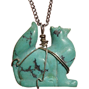 Fabulous 3-D Arctic Fox Carved in Turquoise & Sterling Silver Pendant Vintage Necklace