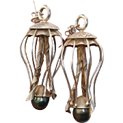 "Exquisite Jellyfish & Tahitian Pearl Artist-Made Large 2.55"" Sterling Silver Earrings !"