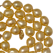"SALE Gorgeous Golden South Sea Cultured Pearls & 14K Gold 21.5"" Necklace !"