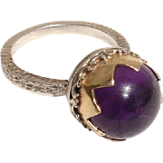SALE Fabulous 12mm Amethyst Sphere, 14K Gold & Sterling Antique Hallmarked Ring - Size 6