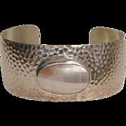 SALE Elegant Nautilus Cabochon Sterling Silver Vintage Cuff Bracelet -- Signed, Desert Rose ..