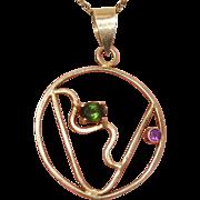 SALE Stunning Green Tourmaline & Amethyst Vermeil Gold over Sterling Vintage Pendant - Artist
