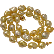 """SALE Incredible Luster !  AAA+ Golden South Sea LARGE 16mm Baroque 18"""" Pearl Necklace - T"""