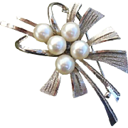 "SALE Beautiful 2.1"" Japanese Akoya Cultured Pearls Vintage Sterling Brooch / Pendant"