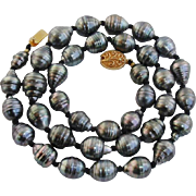 SALE SPECIAL SALE : Gorgeous Deep Grey Tahitian Baroque 12.2mm Cultured Pearls & Vermeil 18""