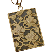 SALE Beautiful Nephrite Jade 18K GF Vintage Pendant & Chain Necklace